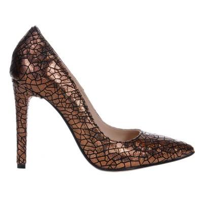 Pantofi Stiletto din Piele cu Imprimeu Aramiu- Cod S445