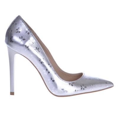 Pantofi Stiletto din Piele Naturala Argintiu Metalizat - Cod S434