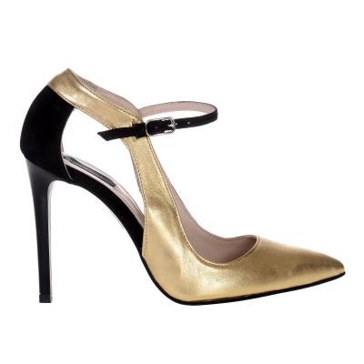 Pantofi Stiletto din Piele Naturala Aurie- Cod S504