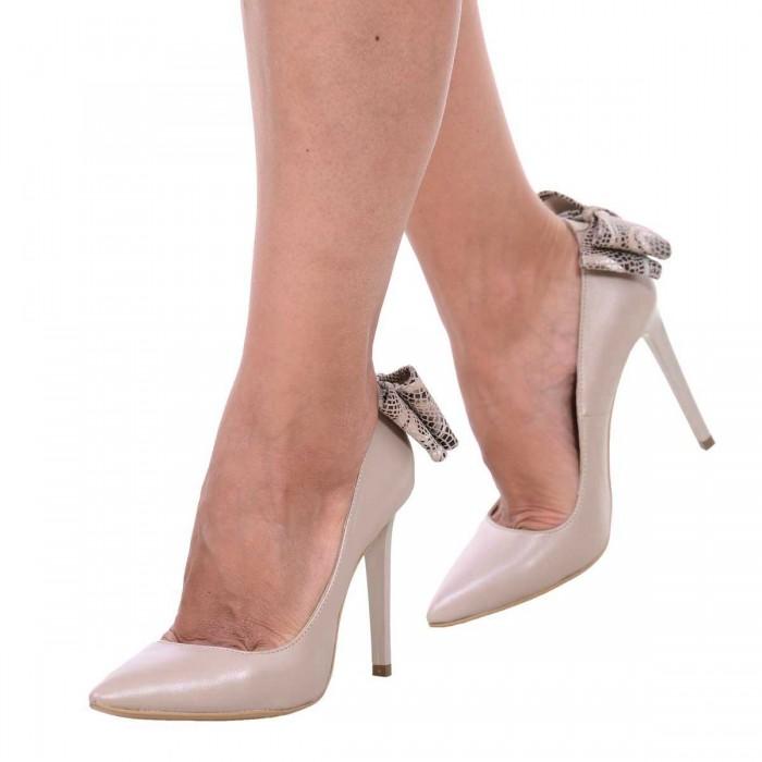 Pantofi Stiletto din Piele Naturala Bej Sidefat - Cod S546