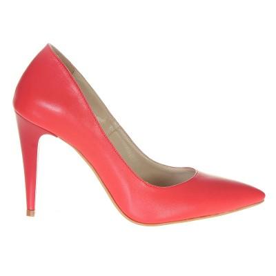 Pantofi Dama Stiletto din Piele Naturala Corai - Cod S483
