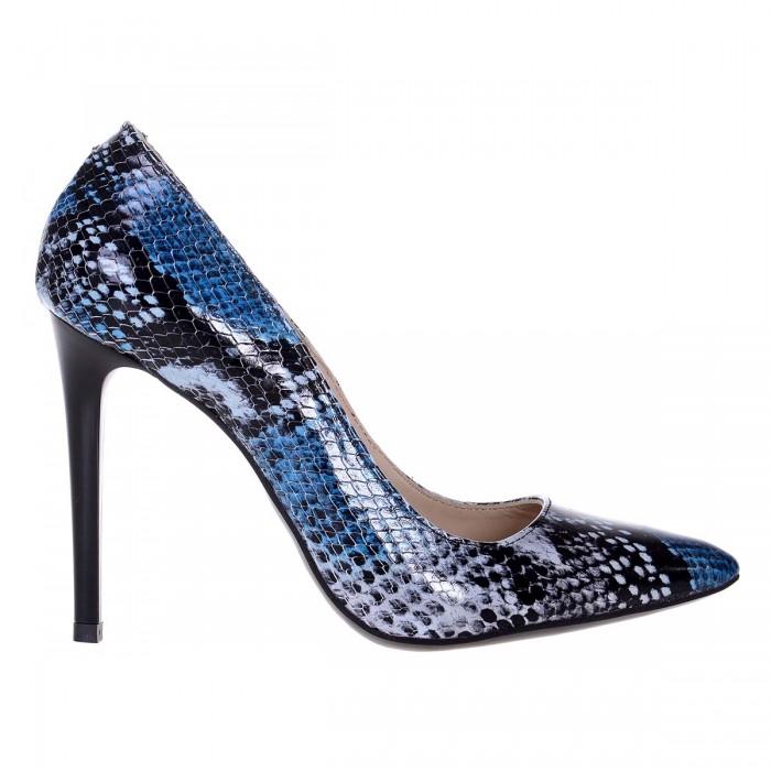 Pantofi Stiletto Piele Naturala Imprimeu Sarpe Albastru- Cod S515