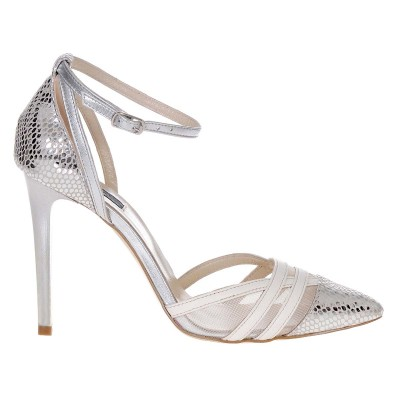 Pantofi Stiletto Eleganti Piele Naturala Imprimeu Sarpe - Cod S375