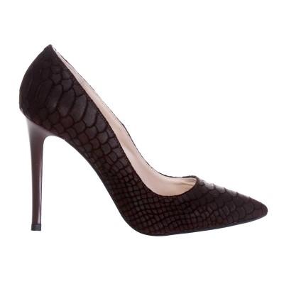 Pantofi Stiletto din Piele cu Imprimeu Sarpe Maro- Cod S503