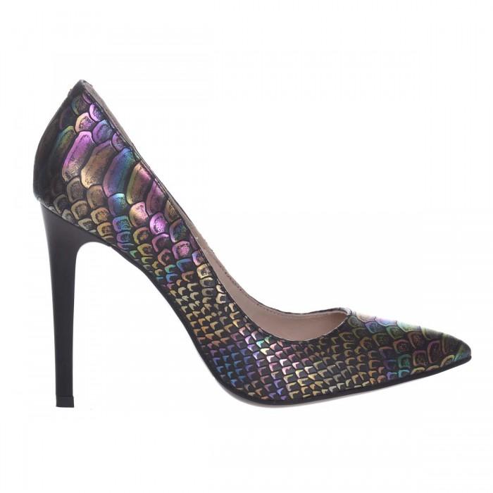 Pantofi Stiletto Dama din Piele Naturala cu Imprimeu de Sarpe - Cod S587