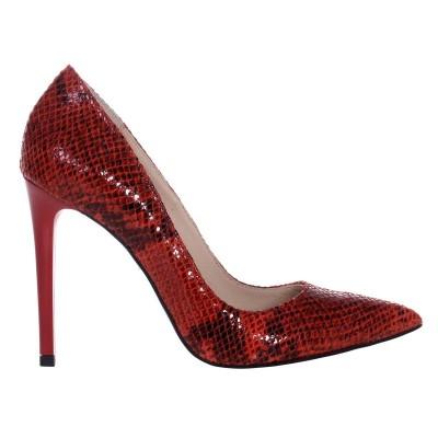 Pantofi Stiletto Piele Naturala Imprimeu Sarpe Rosu- Cod S511