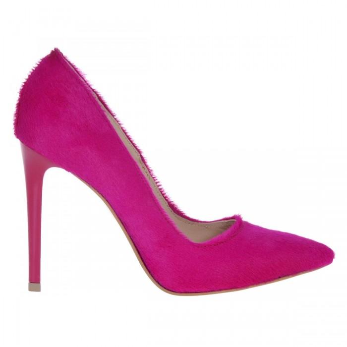 Pantofi Stiletto din Piele Naturala de Ponei Roz Fuchsia - Cod S502