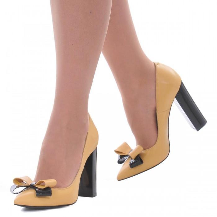 Pantofi Stiletto Cu Toc Gros Piele Naturala Galbena- Cod S449