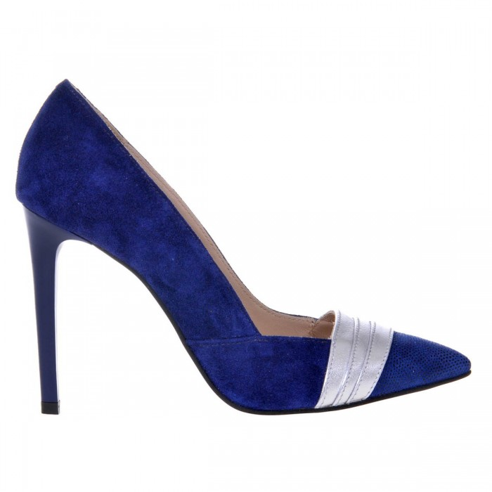 Pantofi Stiletto din Piele Naturala Intoarsa Albastra - Cod S461