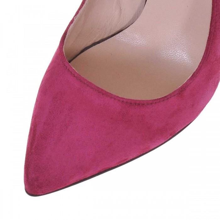 Pantofi Stiletto Piele Naturala Intoarsa Mov- Cod S456