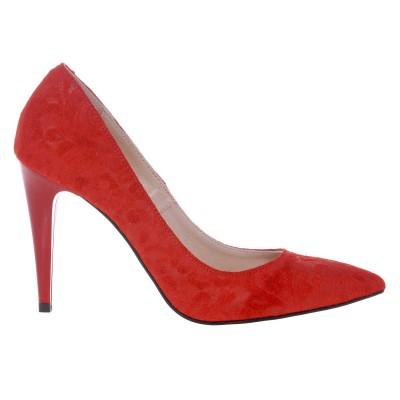 Pantofi Stiletto Rosii din Piele cu Imprimeu Floral- Cod S457