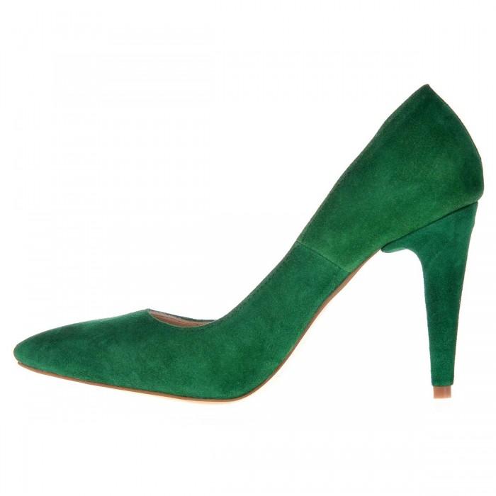 Pantofi Stiletto Verzi din Piele Naturala Intoarsa - Cod S484