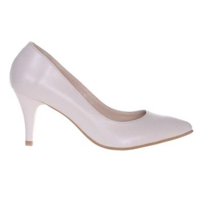 Pantofi Stiletto Piele Naturala Ivory - Cod S506