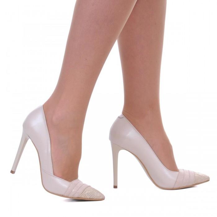 Pantofi Stiletto din Piele Naturala Ivory si Imprimeu - Cod S466