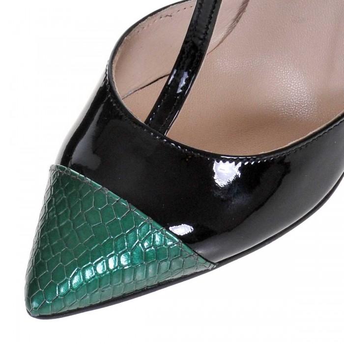 Pantofi Stiletto Decupati Piele Naturala - Negru - Verde - Cod S442