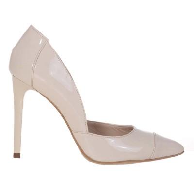 Pantofi Stiletto din Piele Naturala Lacuita Nude - Cod S486