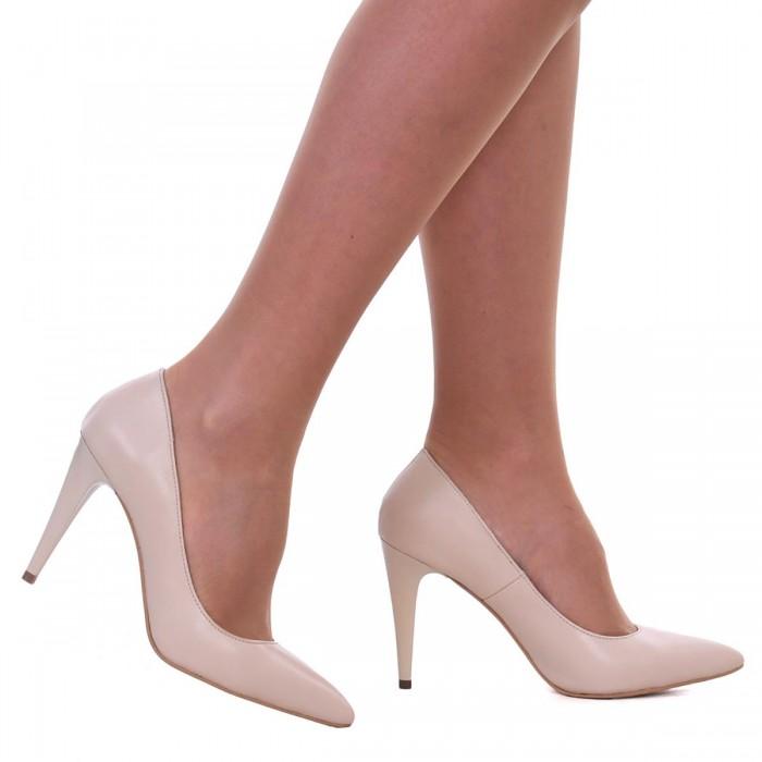 Pantofi Dama Stiletto Piele Naturala Nude - Cod S173