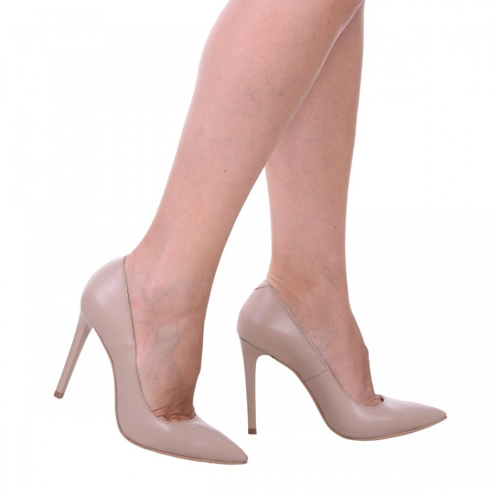 Pantofi Stiletto din Piele Naturala Nude Inchis - Cod S537