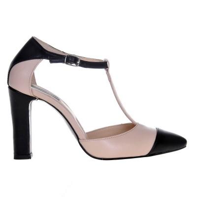 Pantofi Stiletto Piele Naturala Nude-Negru - Cod S478