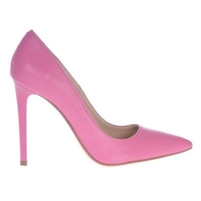 Pantofi Stiletto din Piele Naturala Roz - Cod S432