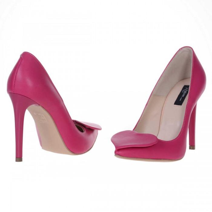 Pantofi Stiletto Piele Naturala Roz Fuchsia cu Inimioare - Cod S547