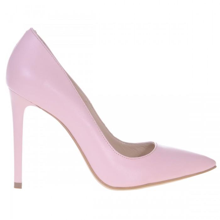 Pantofi Dama Stiletto Piele Naturala Roz Pudra - Cod S167