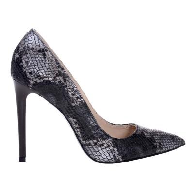 Pantofi Stiletto Piele Naturala Imprimeu Sarpe Gri- Cod S541