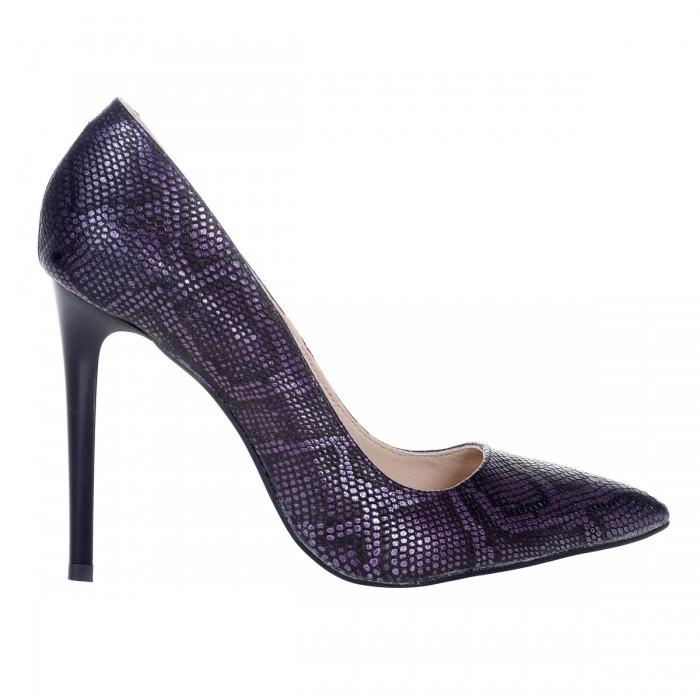 cauta super calitate dimensiunea 40 Pantofi Stiletto Piele Naturala Imprimeu Mov Sarpe - Cod S180