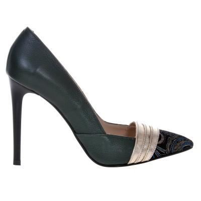 Pantofi Stiletto din Piele Naturala Verde - Cod S462