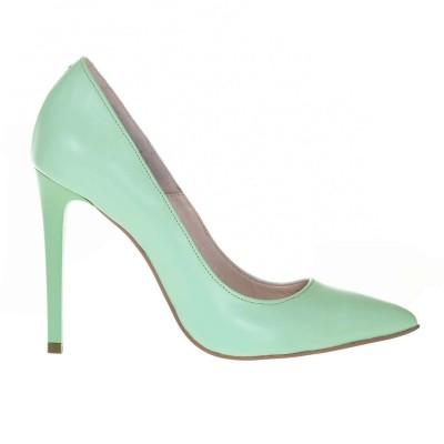 Pantofi Stiletto Piele Naturala Verde Menta - Cod S662