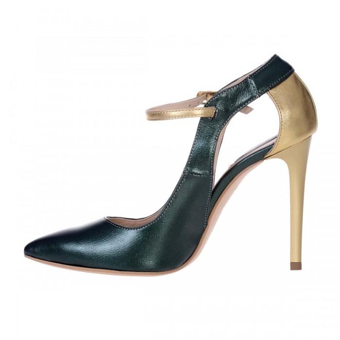 Pantofi Stiletto din Piele Naturala Verde si Auriu - Cod S545