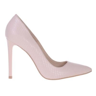 Pantofi Stiletto din Piele Naturala Imprimeu Sarpe Nude- Cod S493