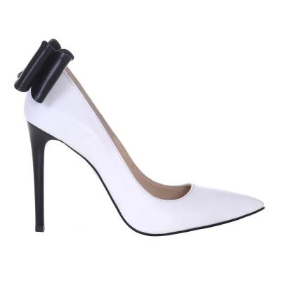 Pantofi Stiletto din Piele Naturala Alba - Cod S562