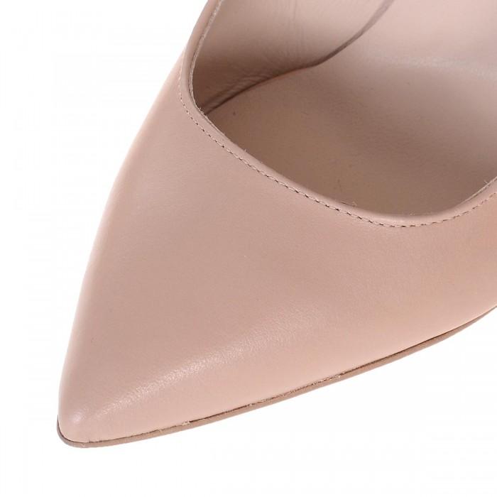 Pantofi Stiletto din Piele Naturala Crem - Cod S563