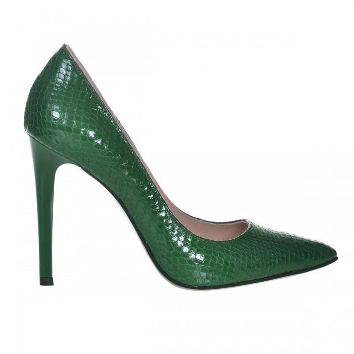 Pantofi Stiletto Piele Naturala Imprimeu Verde - Cod S639