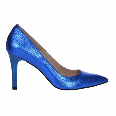 Pantofi Stiletto Toc Comod Piele Albastru Metalizat - Cod S589