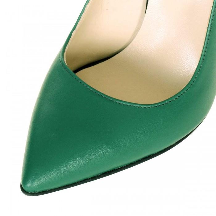 Pantofi Stiletto din Piele Naturala Verde Aprins - Cod S573
