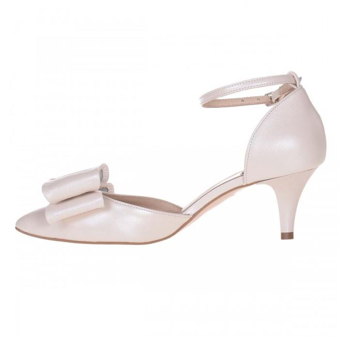Pantofi Stiletto Decupati Piele Naturala Ivory - Cod S619