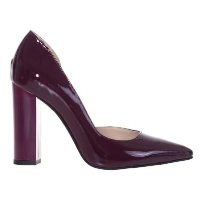 Pantofi Stiletto din Piele Naturala Lacuita Mov - Cod S487