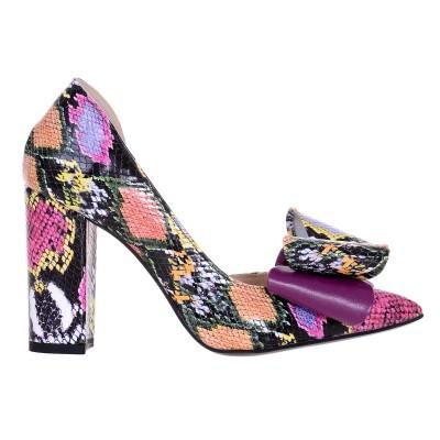 Pantofi Stiletto Decupati din Piele Naturala cu Imprimeu Colorat - Cod S574