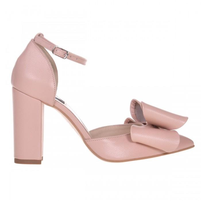 Pantofi Stiletto Piele Naturala Roz Pudra - Cod S599
