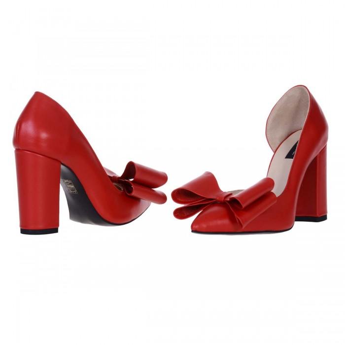 Pantofi Stiletto Decupati din Piele Naturala Rosie - Cod S570