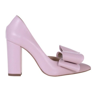 Pantofi Stiletto Decupati din Piele Naturala Roz Pudra - Cod S572