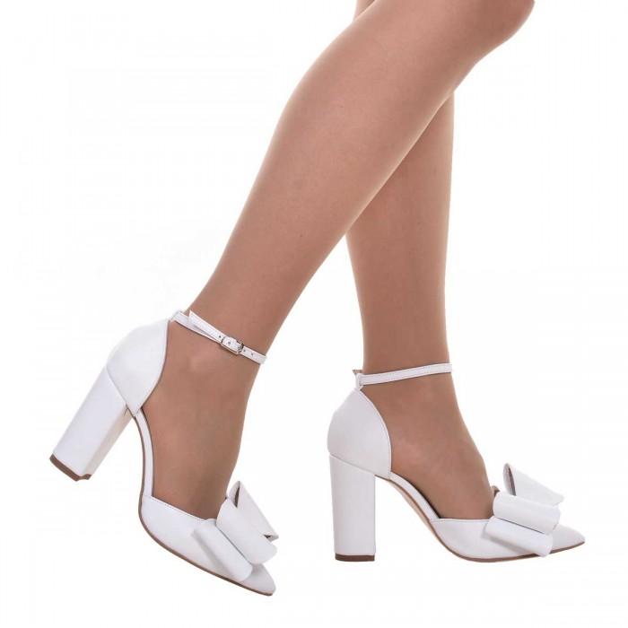 Pantofi Stiletto Piele Naturala Alba- Cod S598