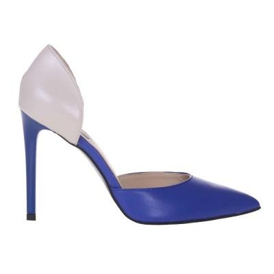 Pantofi Stiletto Decupati Piele Naturala Gri - Albastru - Cod S160