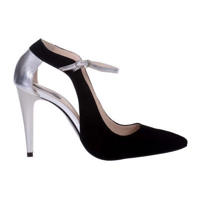 Pantofi Stiletto din Piele Naturala Intoarsa Neagra si Argintie - Cod S530