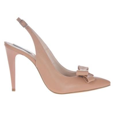 Pantofi Stiletto Decupati din piele Crem - Cod S410