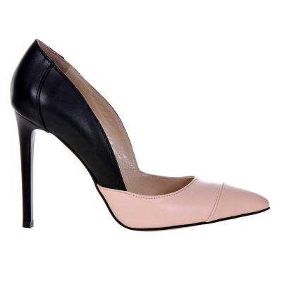 Pantofi Stiletto din Piele Naturala Nude - Negru - Cod S458