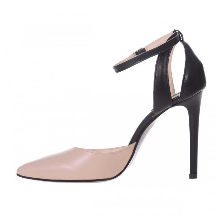 Pantofi Stiletto Decupati Piele Naturala Neagra - Crem - Cod S585
