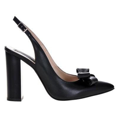 Pantofi Stiletto Decupati din piele Naturala Neagra - Cod S408